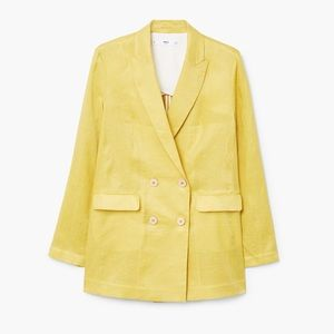 Mango Linen Double Breasted Oversized Blazer